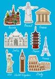 Reeks vectorpictogrammen van reisoriëntatiepunten Stock Fotografie