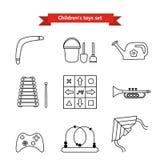 Reeks vectorpictogrammen van speelgoed Inzameling van speelgoed voor kinderen Vectorillustratie in een lijnstijl Royalty-vrije Stock Fotografie