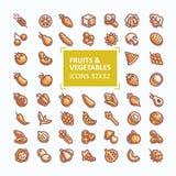 Reeks vectorpictogrammen van vruchten en groenten in de stijl van een dunne lijn, editable slag vector illustratie