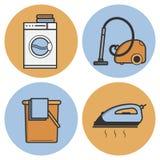 Reeks vectorpictogrammen van wasserij in een vlakke stijl Royalty-vrije Stock Afbeeldingen