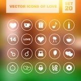 Reeks vectorpictogrammen voor liefde Stock Afbeelding