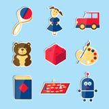 Reeks vectorpictogrammen voor speelgoedopslag Stock Fotografie