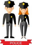 Reeks vectorpolitievolkeren, politieagent en politievrouw Stock Afbeeldingen
