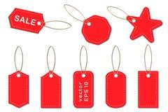 Reeks vectorprijskaartjes en etiketten voor verkoop in opslag, supermarkten royalty-vrije illustratie
