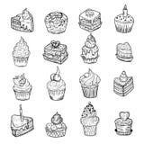 Reeks vectorschetsen van kleine cakes Stock Foto's