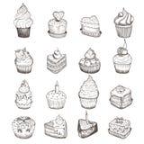 Reeks vectorschetsen van kleine cakes Royalty-vrije Stock Foto