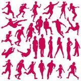 Reeks vectorsilhouetten van mensen in sporten Stock Afbeeldingen