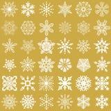 Reeks VectorSneeuwvlokken Royalty-vrije Stock Afbeeldingen