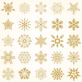 Reeks VectorSneeuwvlokken Royalty-vrije Stock Afbeelding