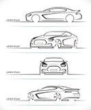 Reeks vectorsportwagensilhouetten Royalty-vrije Stock Afbeeldingen