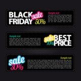 Reeks vectorstickers Zwarte vrijdag Stock Foto's