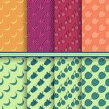 Reeks vectorvruchten naadloze patronen stock illustratie