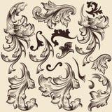 Reeks vectorwervelingen in uitstekende stijl voor ontwerp Royalty-vrije Stock Foto's