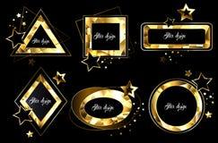 Reeks veelhoekige gouden banners vector illustratie