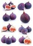 Reeks vele fig.vruchten op wit Stock Afbeeldingen