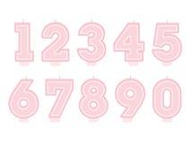 Reeks verjaardagskaarsen Aantalvormen Stock Foto
