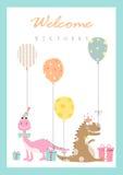 Reeks verjaardagskaarten, affiche, malplaatje, groetkaarten, dieren, dinosaurussen, eieren, Vectorillustraties Stock Foto