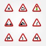 Reeks verkeersteken - waarschuwingen royalty-vrije illustratie