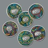 Reeks Verkoop decoratieve vectoretiketten Royalty-vrije Stock Afbeelding