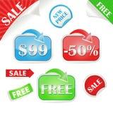 Reeks verkoop en promostickers Stock Foto