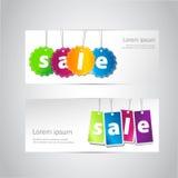 Reeks verkoop horizontale banners Stock Afbeeldingen