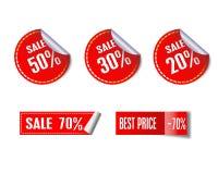 Reeks verkoop rode stickers Stock Afbeeldingen