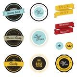 Reeks verkoopetiketten, kentekens en stickers Royalty-vrije Stock Afbeelding
