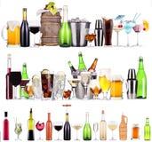 Reeks verschillende alcoholische dranken en cocktails Royalty-vrije Stock Afbeeldingen