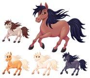 Reeks verschillende beeldverhaalpaarden royalty-vrije illustratie