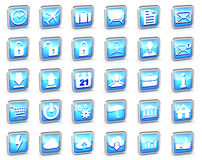 Reeks verschillende blauwe gestreepte Webpictogrammen Stock Afbeeldingen