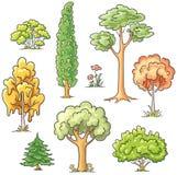 Reeks verschillende bomen royalty-vrije illustratie
