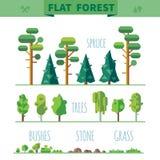 Reeks verschillende bomen, rotsen, gras Stock Afbeeldingen