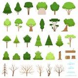 Reeks verschillende bos, tropische en droge bomen, struiken, stompen, logboeken en wolken Vector illustratie royalty-vrije illustratie