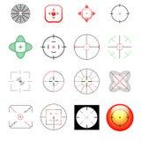 Reeks verschillende crosshairs en doelstellingen stock illustratie