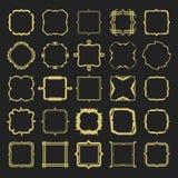 Reeks verschillende de emblemen en de kadersontwerpelementen van de stijlen gouden lijn Stock Foto