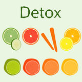 Reeks verschillende detoxvruchten en groenten Royalty-vrije Stock Afbeelding