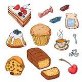 Reeks verschillende die desserts op witte achtergrond wordt geïsoleerd Hand-drawn stijl Stock Foto's