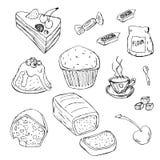 Reeks verschillende die desserts op witte achtergrond wordt geïsoleerd Hand-drawn stijl Lijnart. Royalty-vrije Stock Foto