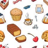 Reeks verschillende die desserts op witte achtergrond wordt geïsoleerd Hand-drawn stijl Naadloos patroon Royalty-vrije Stock Foto