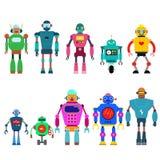 Reeks verschillende die karakters van beeldverhaalrobots, de lijnstijl van ruimtevaarders cyborg pictogrammen op witte achtergron royalty-vrije illustratie