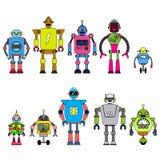 Reeks verschillende die karakters van beeldverhaalrobots, de lijnstijl van ruimtevaarders cyborg pictogrammen op witte achtergron stock illustratie