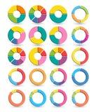 Reeks Verschillende die pijlcirkels op het wit met schaduwen worden geïsoleerd Stock Fotografie