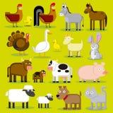 Reeks Verschillende Dieren Geïsoleerde van het Beeldverhaallandbouwbedrijf Stock Foto
