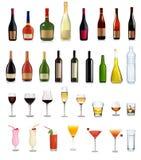 Reeks verschillende dranken en cocktails. Royalty-vrije Stock Afbeeldingen