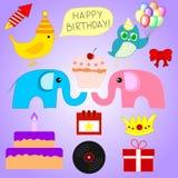 Reeks Verschillende Elementen van de Verjaardagspartij voor Uw Ontwerp, Spel, Kaart Vector illustratie stock illustratie