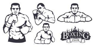 Reeks verschillende elementen voor doosontwerp - bokshandschoenen, boksermens Sportuitrustingreeks Geschiktheidsillustraties Het  vector illustratie