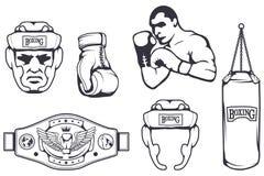 Reeks verschillende elementen voor doosontwerp - in dozen doende helm, ponsenzak, bokshandschoenen, in dozen doende riem, bokserm stock illustratie