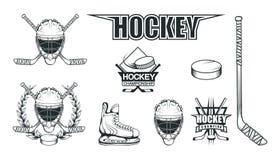 Reeks verschillende elementen voor hockey het spelen Helm voor de hockeyspeler Professionele schaatsenillustratie Het embleem van royalty-vrije illustratie