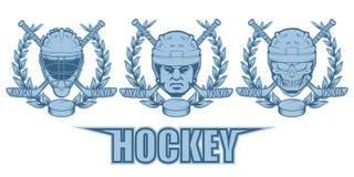 Reeks verschillende elementen voor hockey het spelen Helm voor de hockeyspeler Professionele schaatsenillustratie Schedel met hoc stock illustratie