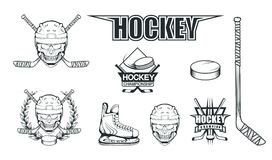 Reeks verschillende elementen voor hockey het spelen Helm voor de hockeyspeler Professionele schaatsenillustratie Schedel met hoc vector illustratie